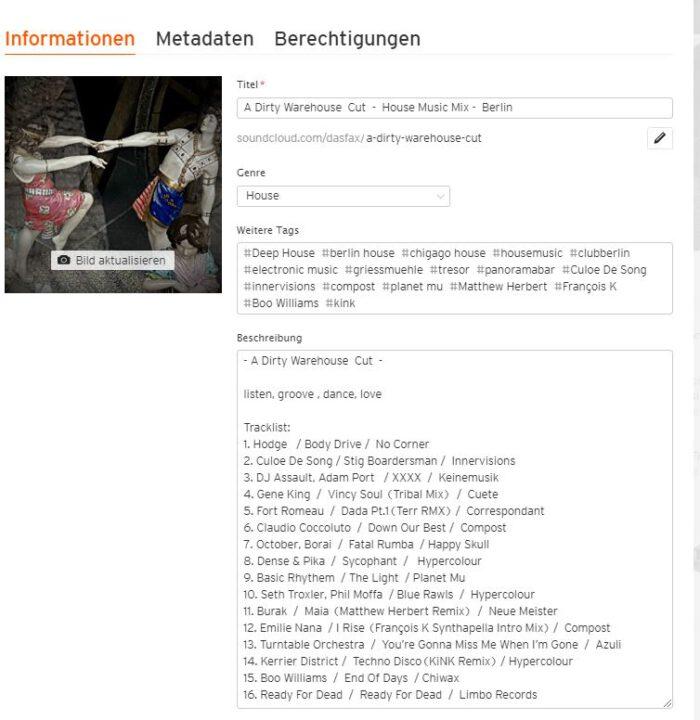 Beschriftung DJ Mix Soundcloud