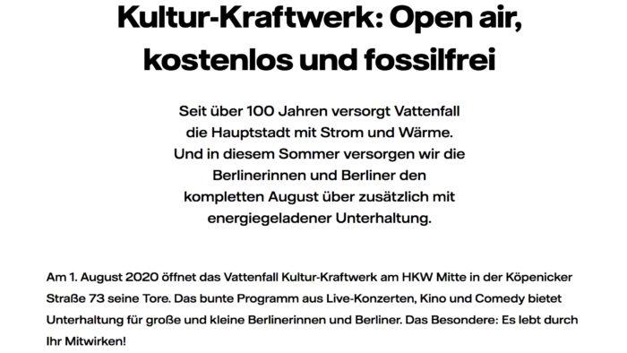 Kultur KRAFTWERK Open Air kostenlos und fossilfrei